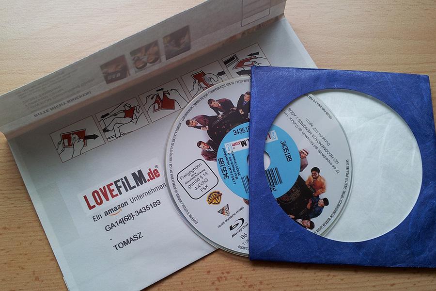LoveFilm Umschlag mit Blu-ray und Hülle