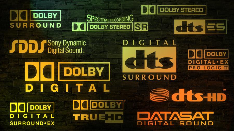 Einige Logos klassischer Tonformate von Kinofilmen, darunter auch Logos, die niemals den Sprung ins Heimkino geschafft haben.
