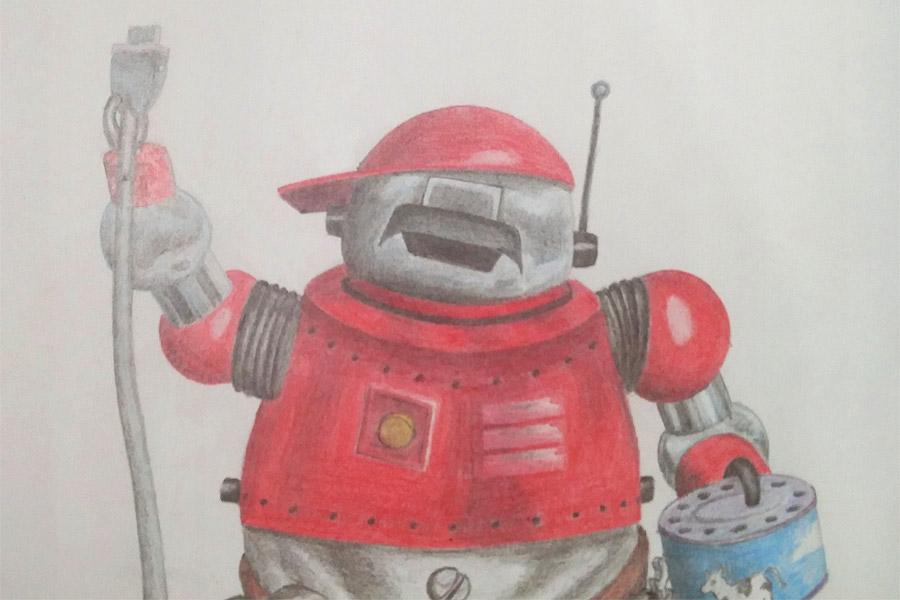 Buntstiftzeichnung: Tex, das Maskottchen von THX, ein Roboter mit teilweise roter Lackierung, in der Hand eine Muh-Dose, daran angeschlossen ein Kabel mit Stecker, den er in der anderen Hand hält.