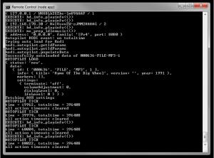 Das Gehirn der Heimkino-Automatisierung: Die Ausgabe des Servers während dem Betrieb – hier wird gerade Musik von Kodi abgespielt.