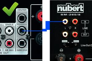 Subwoofer-Anschluss per Mono-Kabel