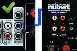 Subwoofer-Anschluss per Y-Kabel