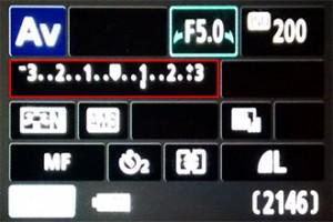 Eine Belichtungskorrektur (hier rot umrandet) kann bei nahezu allen Digitalkameras eingestellt werden.