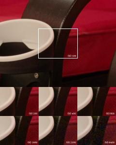 Der selbe Bildausschnitt mit verschiedenen ISO-Wertenaufgenommen. Ab ISO 800 wird das Bildrauschen deutlich sichtbar.