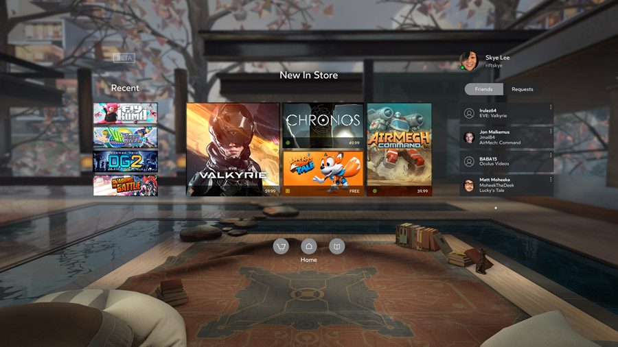 Home Screen der Oculus-Software