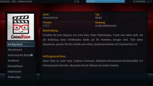 Einstellungen zu CinemaVision im Addon-Manager von Kodi