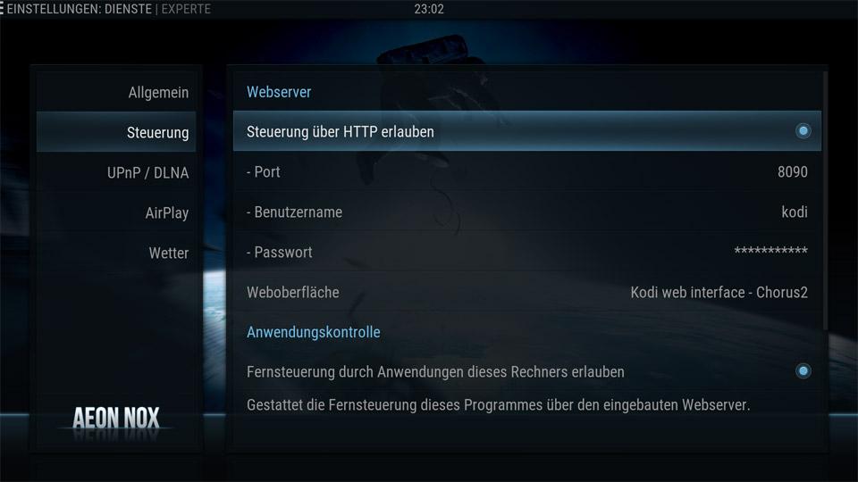 HTTP-Steuerung in Kodi erlauben