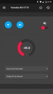 Screenshot der App mit aktiver Steuerung eines AV-Receivers.