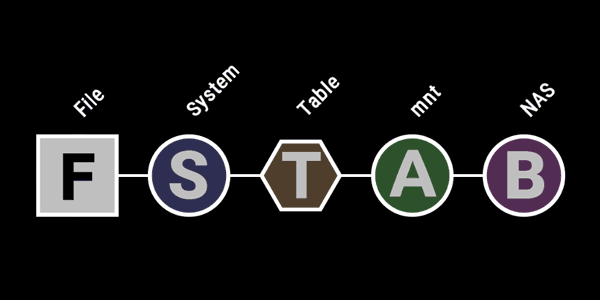 """Der Name der Linux-Systemdatei """"fstab"""" als CinemaVision-Programm dargestellt."""