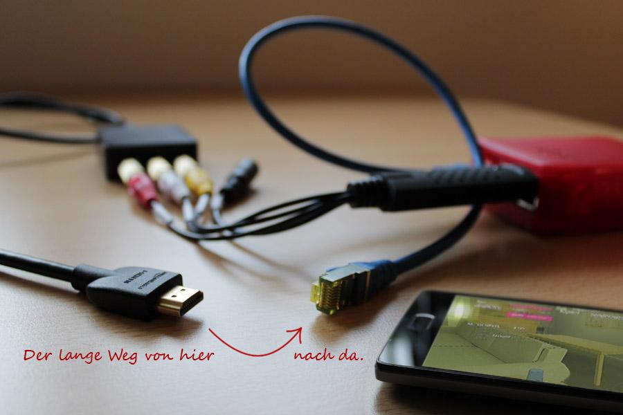 Videograbber mit Raspberry Pi – Der lange Weg von hier (HDMI-Ausgang) nach da (Netzwerkkabel und Smartphone mit Vorschaubild).