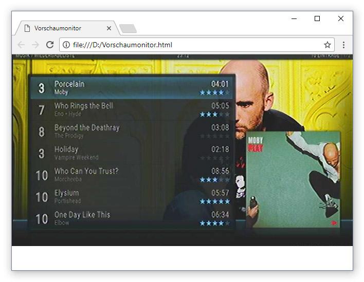 Browserfenster mit aktivem Videostream, der über eine separate HTML-Datei aufgerufen wurde. Im Gegensatz zu allen anderen Vorschaubildern ist dieses nicht verzerrt und weist keinen Rand auf.