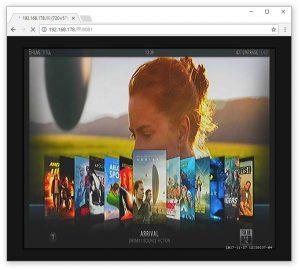 Browserfenster mit aktivem Vorschaubild, das eine Ansicht von Kodi zeigt.