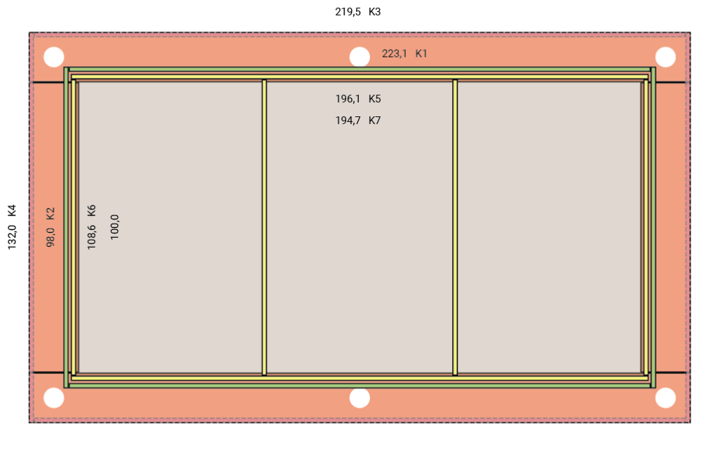 Grundriss eines Deckensegels mit 3 Sektionen für Steinwolle in der handelsüblichen Größe.