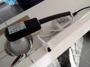 Detailansicht der Anschlüsse der LED-Stripes mit dem Infrarot-Empfänger.