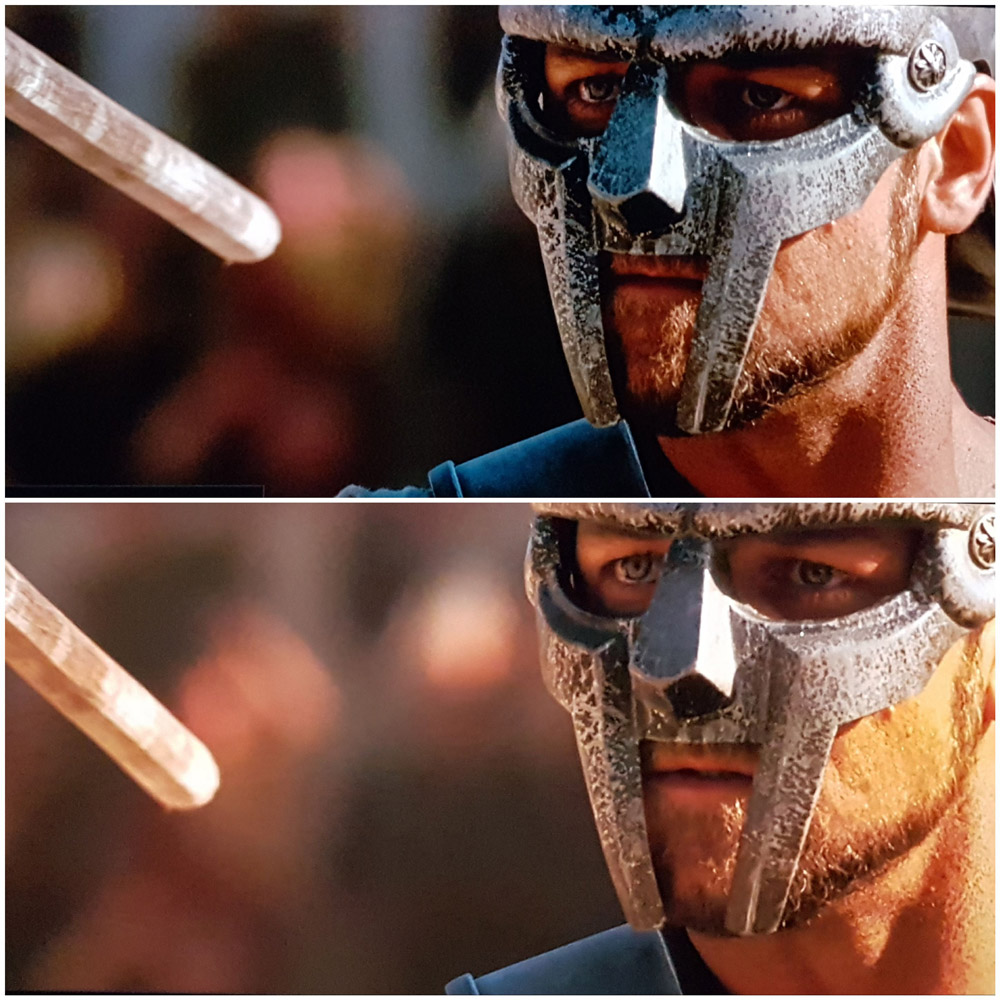 Die Maske (grau) und das Gesicht (ohne Gelbstich) wird authentischer herausgearbeitet.