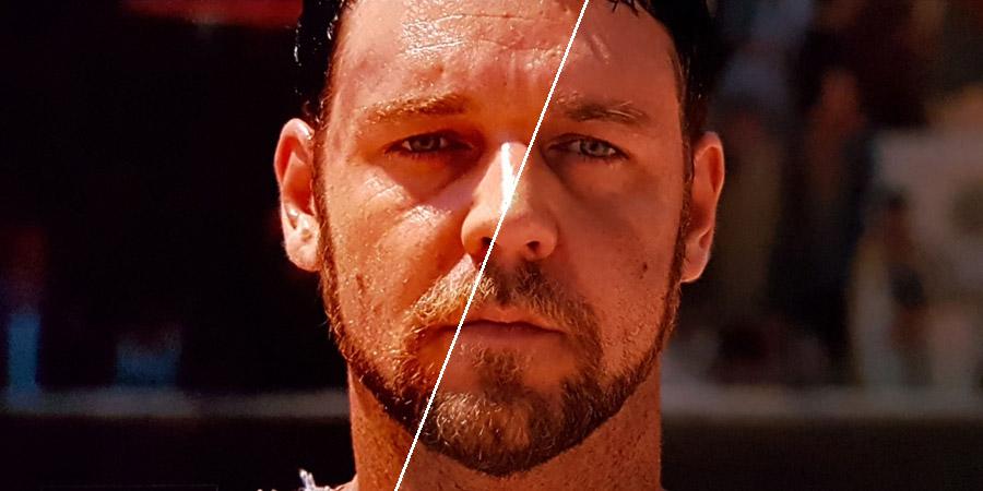 Ausschnitt aus Gladiator (2001) mit Russell Crowe im Split-Screen: links die UHD, rechts die BD.