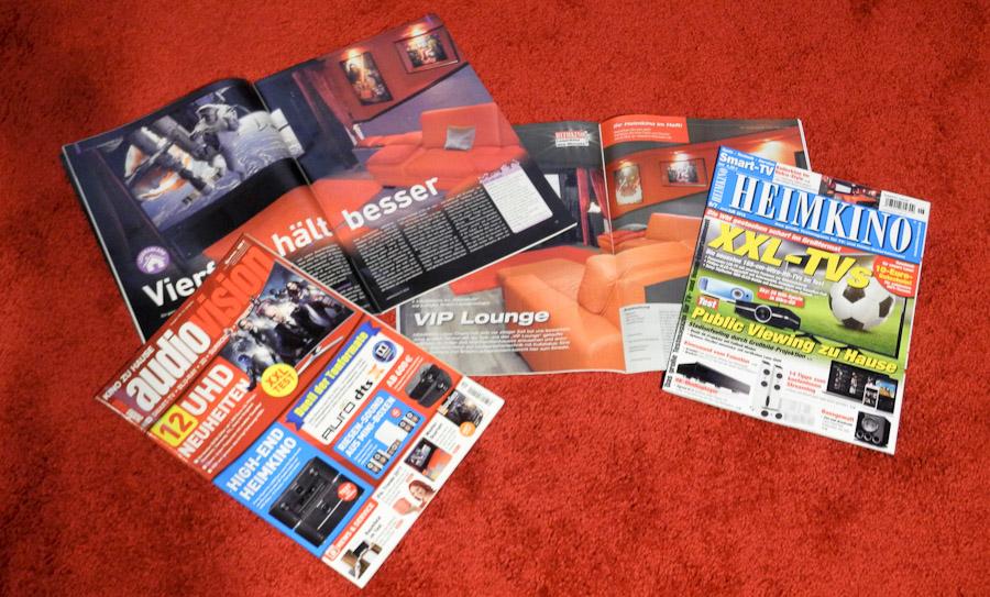 """Die Fachzeitschrift """"Heimkino"""" und """"AudioVision"""" mit ihrer jeweiligen monatlichen Heimkino-Vorstellung."""