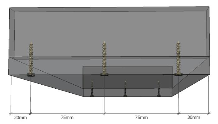 Seitenansicht des Unterbaus mit Bemaßung der Abstände für die Schrauben.