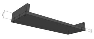 Schematische Darstellung des Unterbaus für den Poäng von unten mit sichtbaren Schraubenköpfen.
