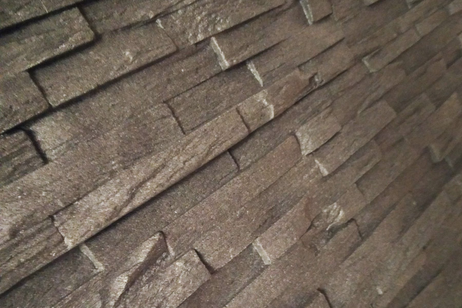 Nahaufnahme von Steinverblendern aus Styropor.