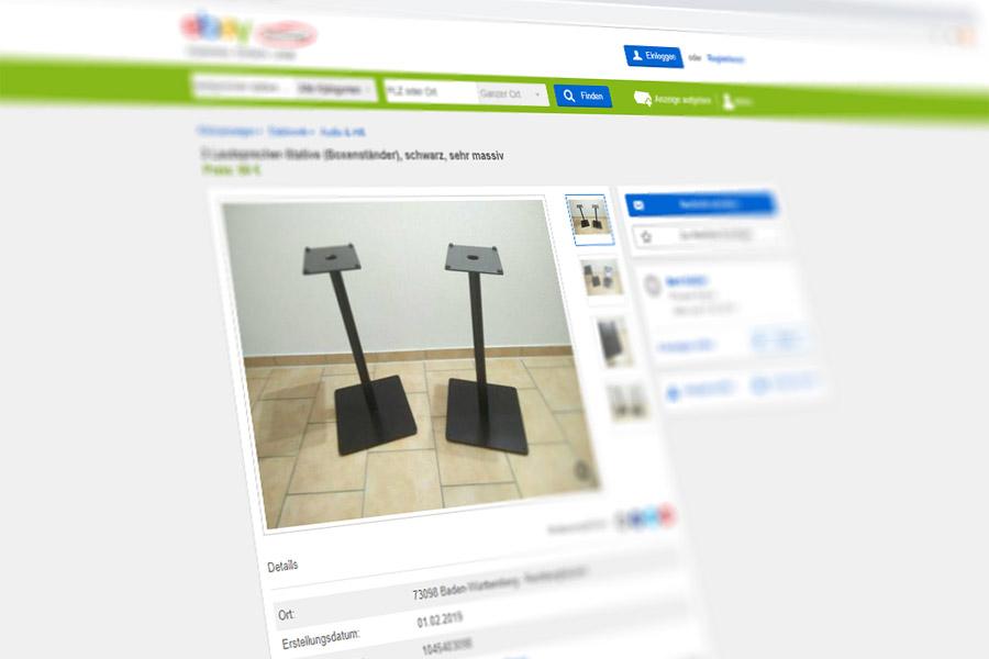 Screenshot einer Anzeige bei eBay Kleinanzeigen – einem der derzeit besten Anlaufpunkte, um Heimkino-Zubehör gebraucht zu kaufen.