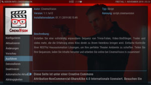 CinemaVision im Add-On-Menü von Kodi
