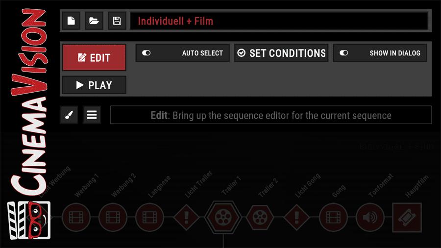 Das Auswahlmenü für Sequenzen in CinemaVision.
