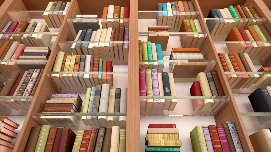 Ein Holzregal mit Glaszwischenböden und vielen Büchern darin.
