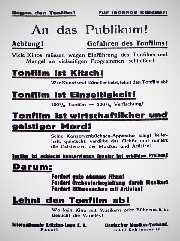 Ein Flugblatt des deutschen Musikerverbands, der vor den Gefahren des Tonfilms warnen wollte.