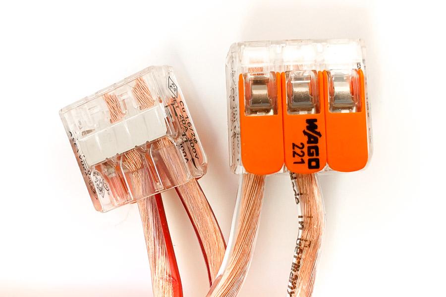 Wago-Klemmen sind ideal, um Lautsprecherkabel zu verlängern